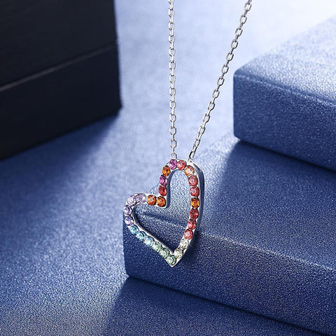Sterling Silver Rainbow Heart Necklace made with Swarovski Crystals - Voiceopin International: Child Abuse Information & Online Shopping Center