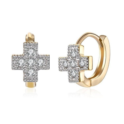 Swarovski Crystal Cross Shaped Huggies Set in 18K Gold - Voiceopin International: Child Abuse Information & Online Shopping Center