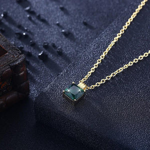 Swarovski Crystal Emerald Sqaure Necklace in 18K Gold Plated - Voiceopin International: Child Abuse Information & Online Shopping Center