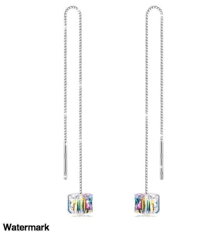 "Swarovski Crystals 4.33"" Cube Drop Auroa Designer Earring - Voiceopin International: Child Abuse Information & Online Shopping Center"