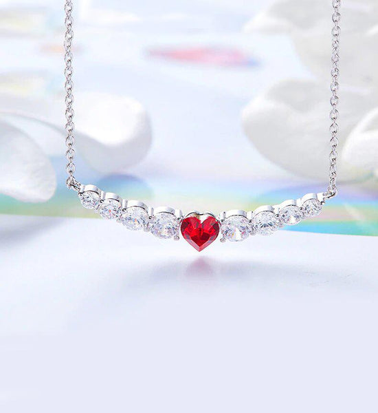 Swarovski Crystals 8.00 CT Ruby Heart Necklace - Voiceopin International: Child Abuse Information & Online Shopping Center