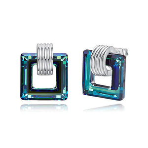 Swarovski Crystals Aqua Water Sqaure Stud Earring - Voiceopin International: Child Abuse Information & Online Shopping Center