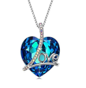 Swarovski Crystals Bermuda Blue LOVE Designer Necklace - Voiceopin International: Child Abuse Information & Online Shopping Center