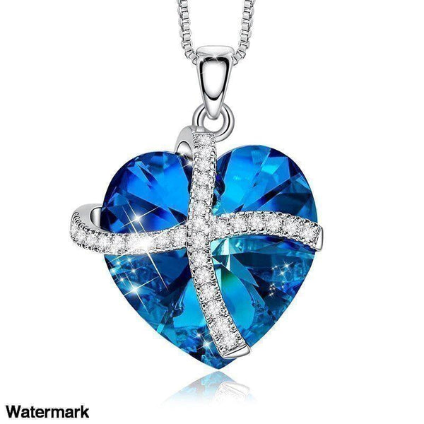 Swarovski Crystals Bermuda Blue Pave Heart Ribbon Designer Necklace - Voiceopin International: Child Abuse Information & Online Shopping Center