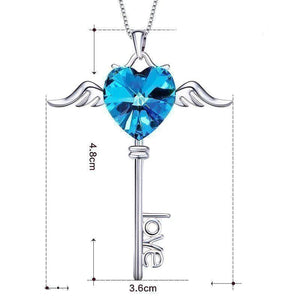 Swarovski Crystals Love Key Designer Necklace - Voiceopin International: Child Abuse Information & Online Shopping Center