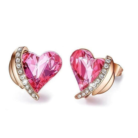 Swarovski Crystals Pink Heart Designer Earring - Voiceopin International: Child Abuse Information & Online Shopping Center