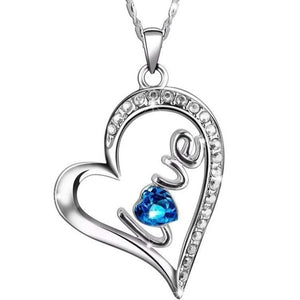 Swarovski Crystals Sapphire LOVE Designer Necklace - Voiceopin International: Child Abuse Information & Online Shopping Center