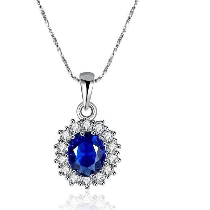 Swarovski Crystals Sapphire Royal Kate Middleton Designer Necklace - Voiceopin International: Child Abuse Information & Online Shopping Center
