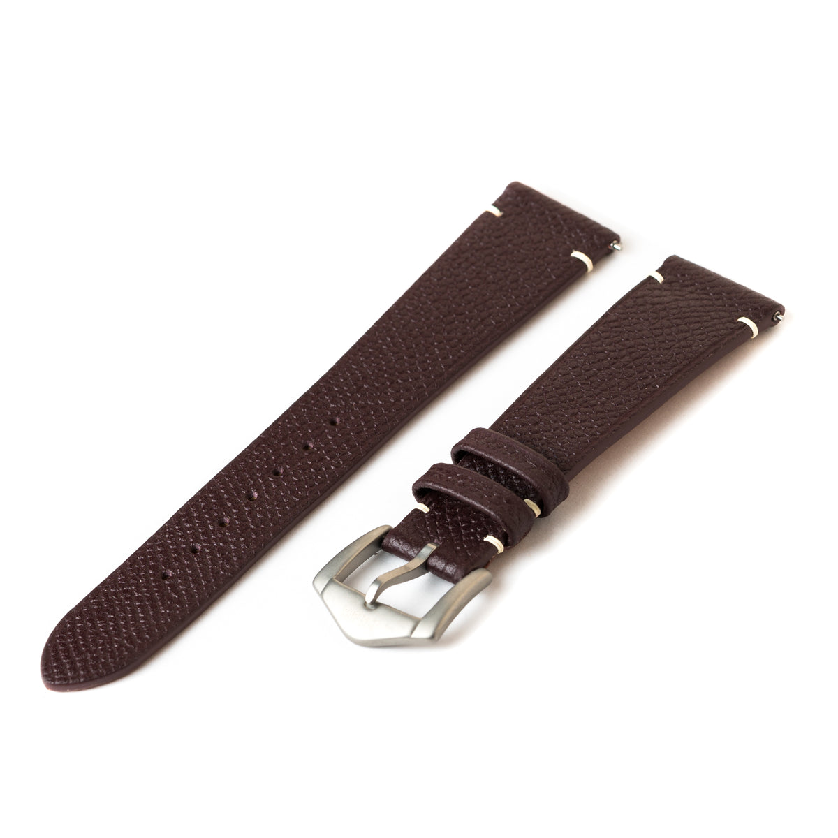 Bordeaux Epsom Side-Stitch Strap