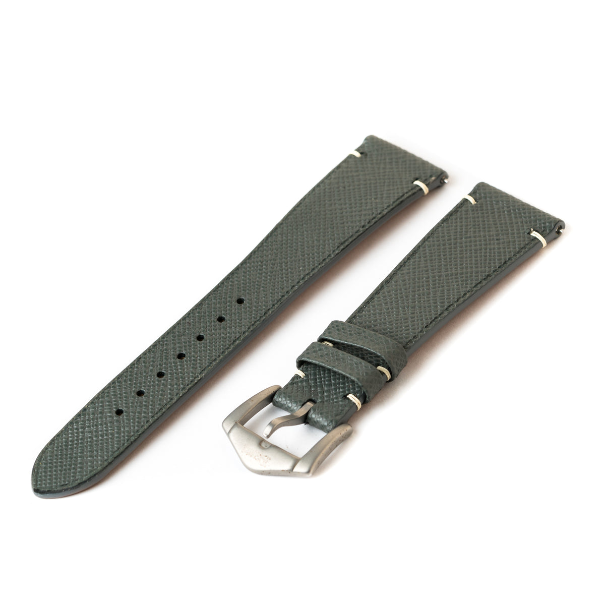 Steel Grey Saffiano Side-Stitch Strap