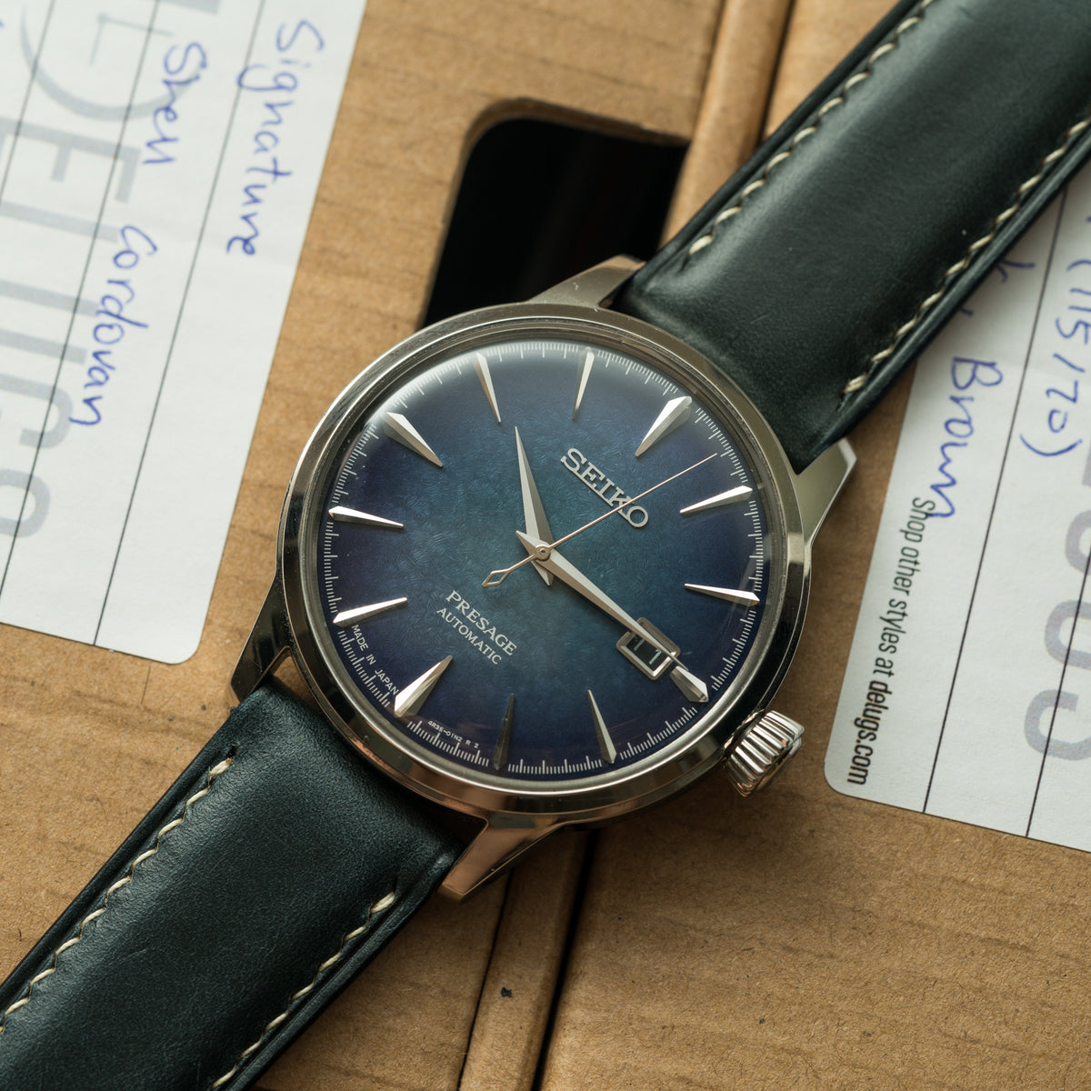 Navy Chromexcel Signature Strap