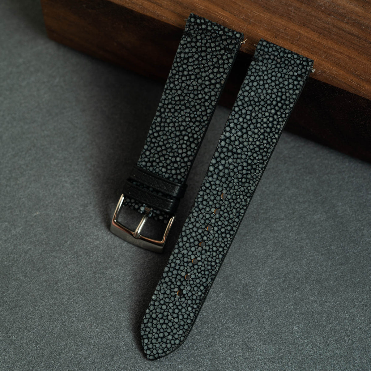 Black Stingray Side-Stitch Strap