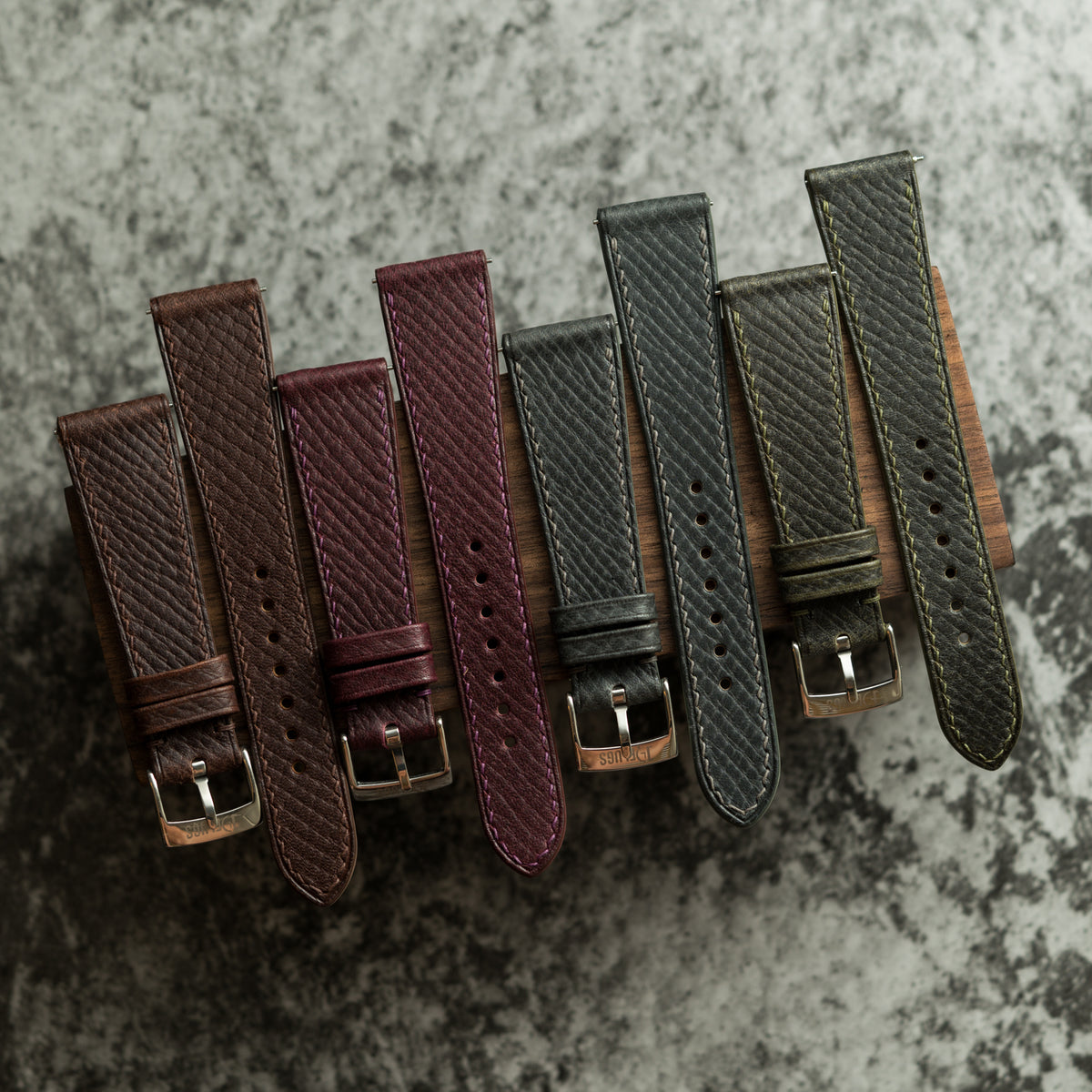 Oxblood Russian Hatch Grain Slim Strap