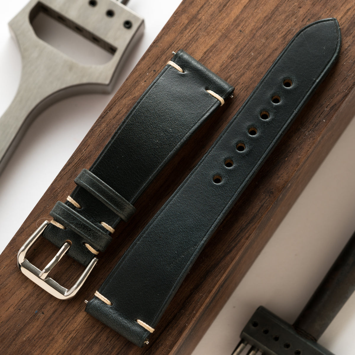 Navy Chromexcel Side-Stitch Strap