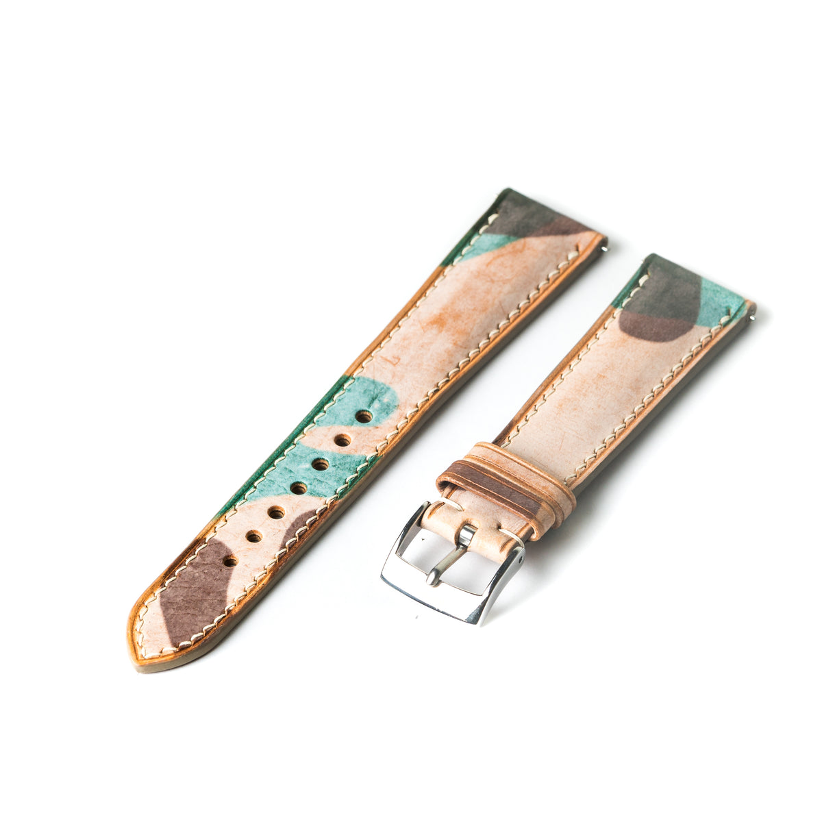 Natural Waxed Camouflage Signature Watch Strap
