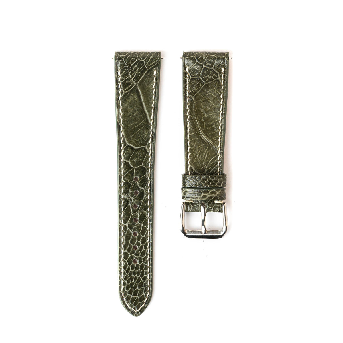 Forest Green Ostrich Slim Strap