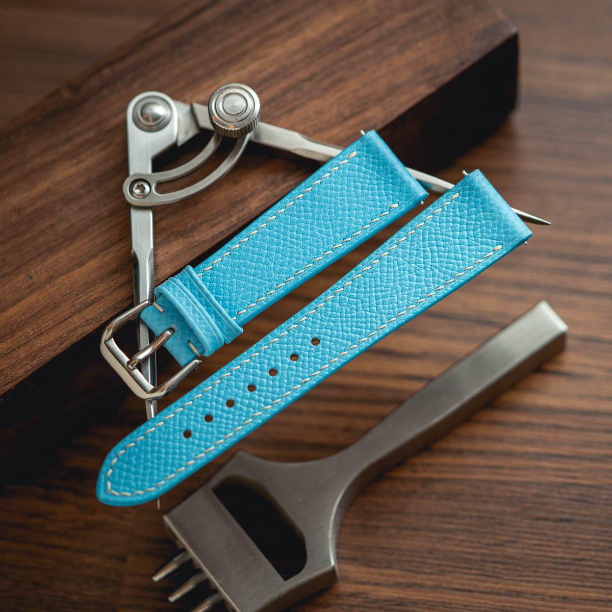 Light Blue Epsom Slim Strap