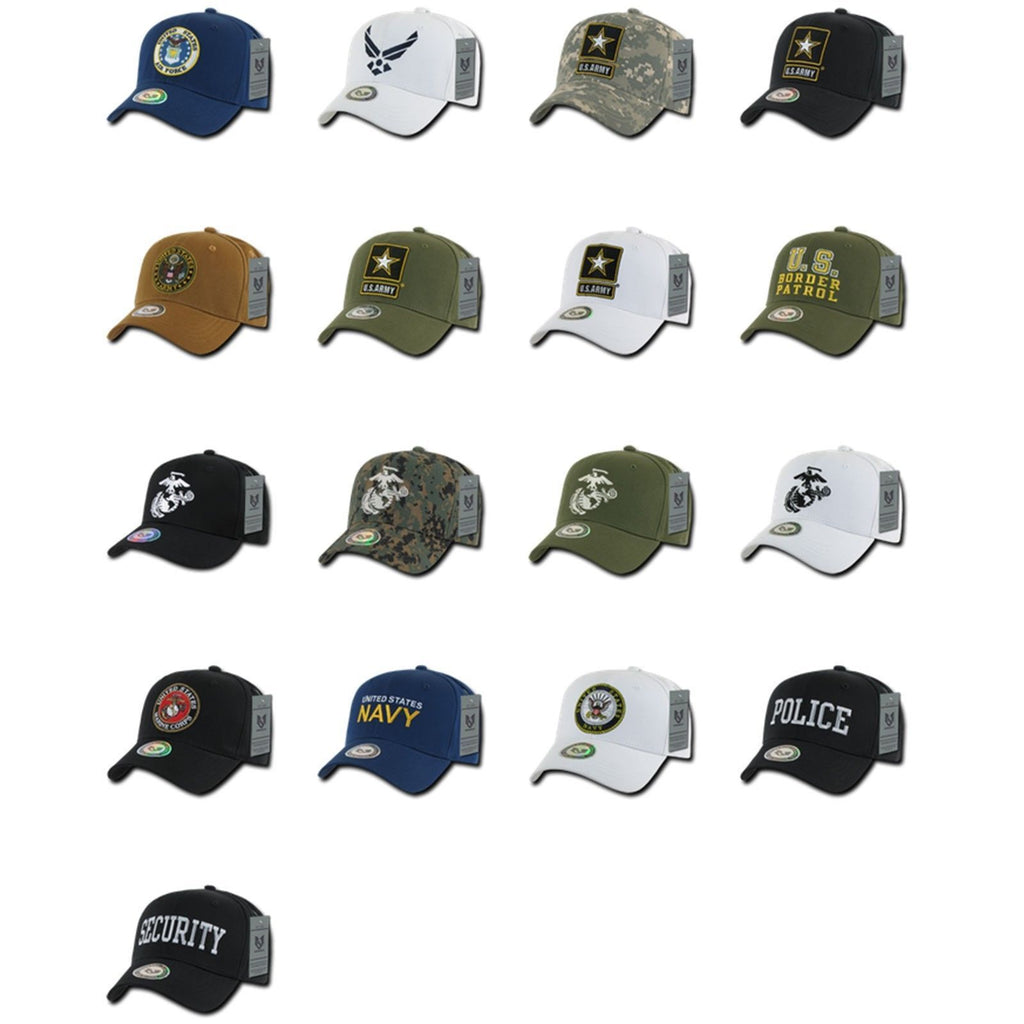 1 Dozen Army Air Force Navy Marines Police Cotton Baseball Hats Caps Wholesale Lots