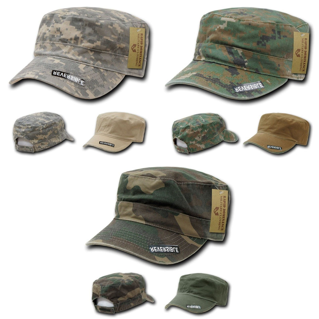 1 Dozen Bdu Patrol Cadet Military Reversible Flat Camo Caps Hats Wholesale Lots