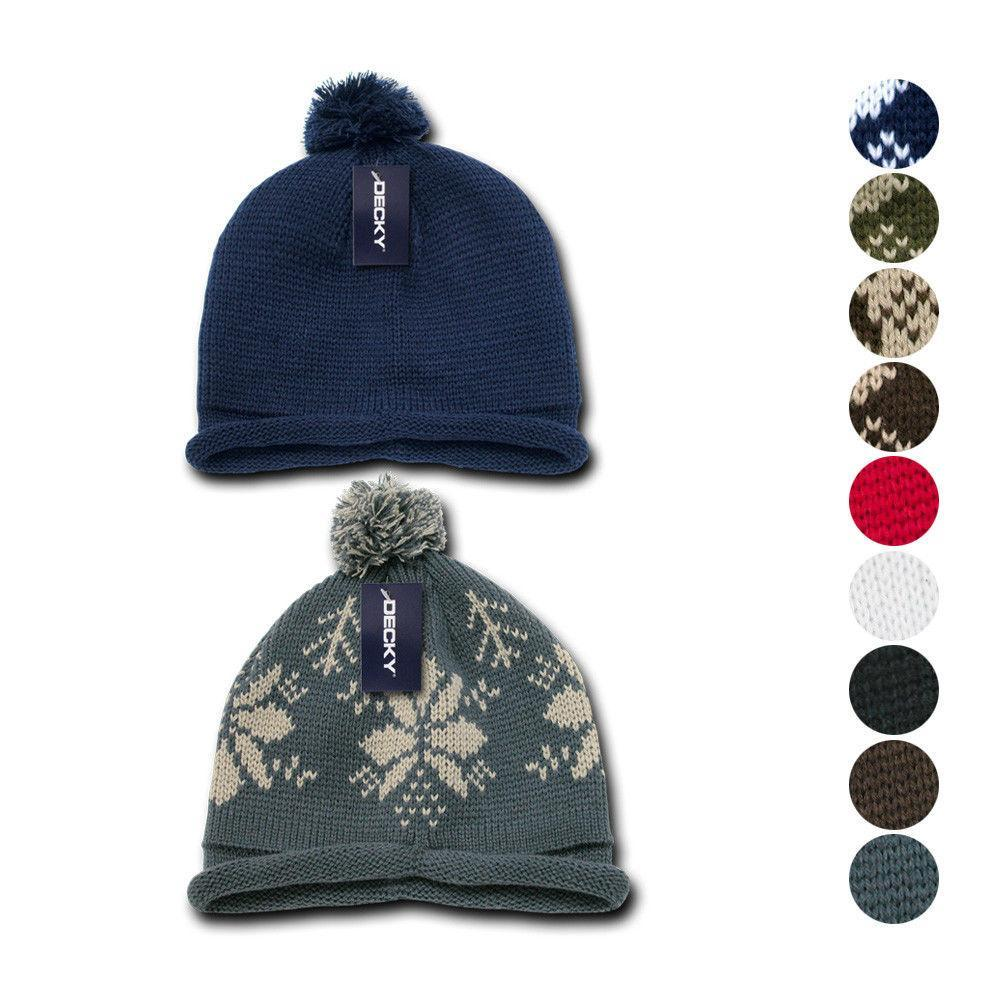 904cf2a8d22165 1 Dozen Beanies Snowflake Solid Roll Up Warm Knitted Ski Poms Wholesale Bulk