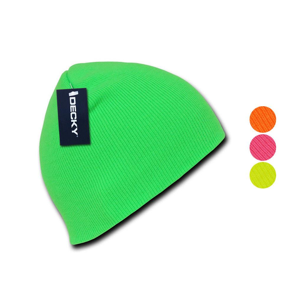 1 Dozen Bright Neon Short Beanies Caps Hats Knit Ski Skull Snowboard Wholesale Bulk