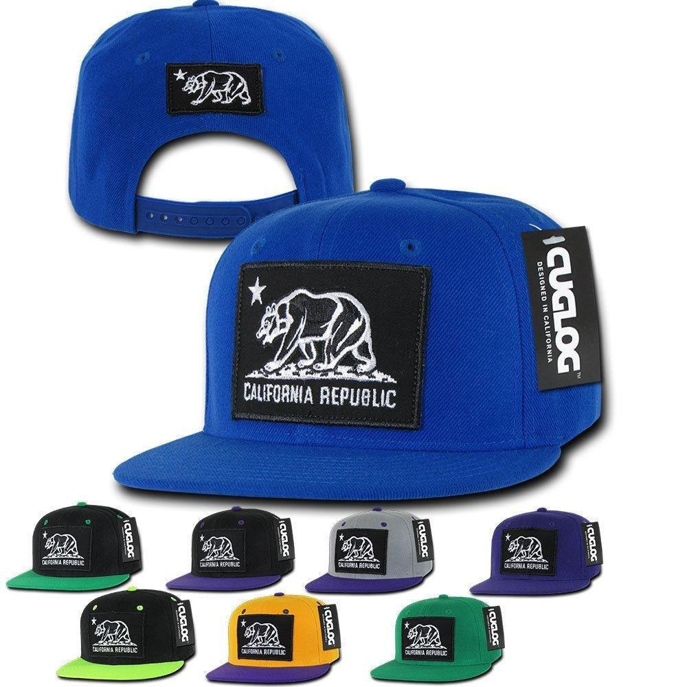 1 Dozen California Cali Bear Patch Snapback 6 Panel Flat Bill Caps Hats Wholesale Lots