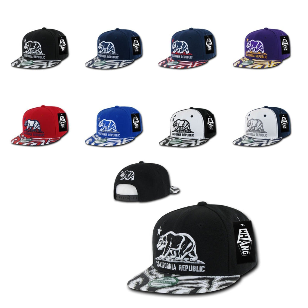 1 Dozen California Republic Bear Zebra Print Flat Bill Snapback Hats Wholesale Bulk