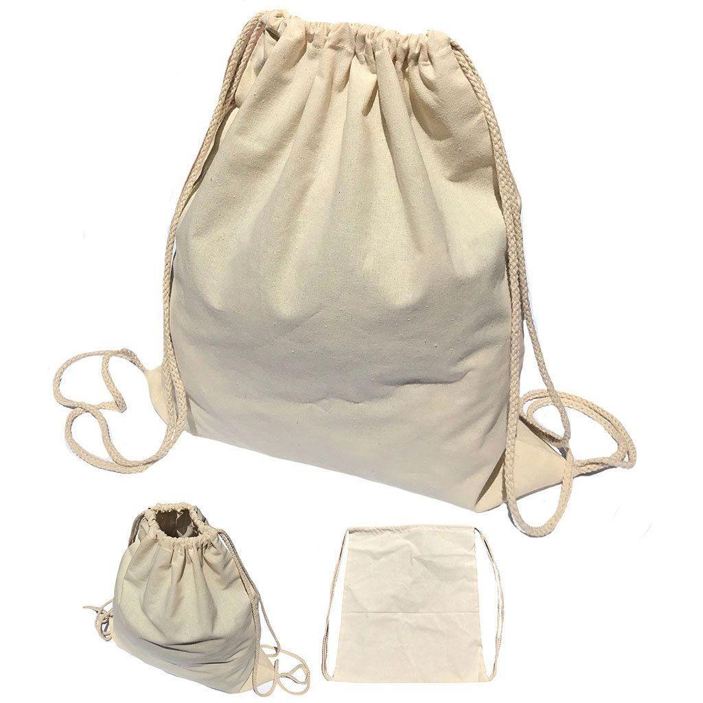 1 Dozen Cotton Natural Drawstring Sack Backpack Bag Tote Sports Wholesale Bulk