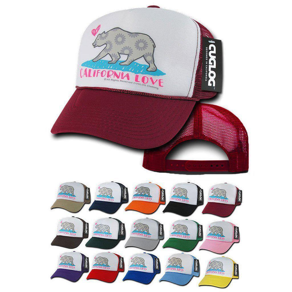 1 Dozen Cuglog 5 Panel California Love Foam Trucker Hats Caps Cali Bear Wholesale Bulk