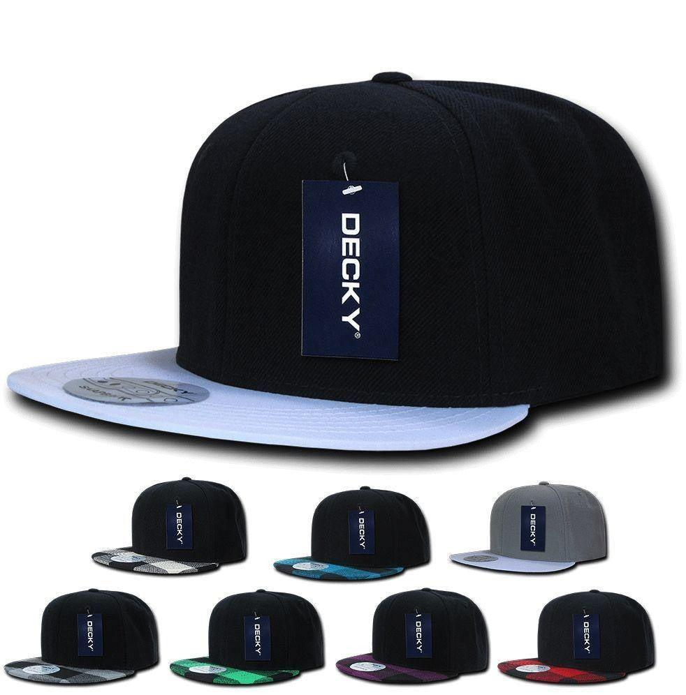 1 Dozen Decky 6 Panel Plaid Flat Bill Snapbacks Baseball Hats Caps Wholesale