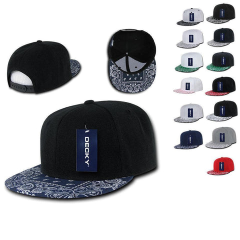 283c55a19f5 1 Dozen Decky Bandana Snapback Two Tone 6 Panel Flat Bill Hats Caps  Wholesale Lots