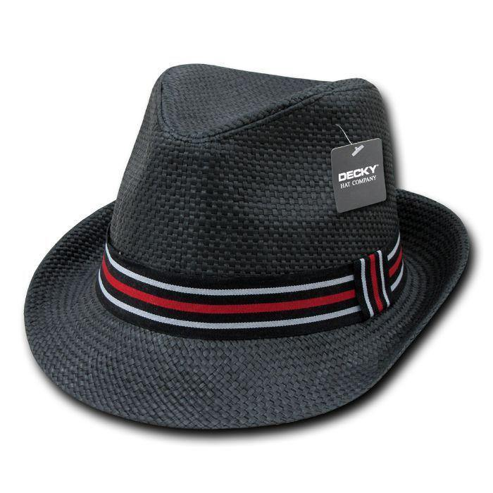 1 Dozen Decky Black Fedora Panama Fashion Hats Paper Straw Unisex Wholesale Lots