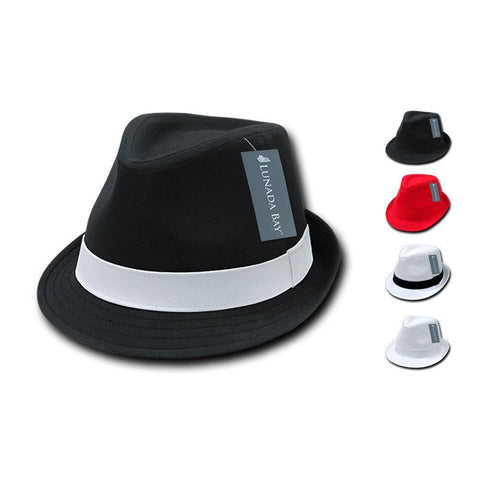 a27f0956c9bb6 1 Dozen Decky Black White Red Poly Woven Fedora Hipster Miami Hats Wholesale