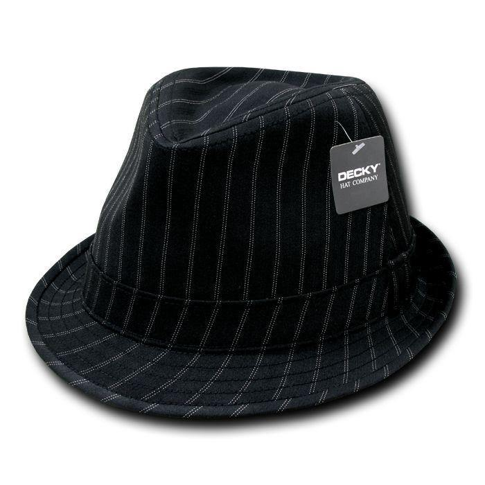 1 Dozen Decky Double Pinstripe Black White Fedora Fedoras Hats Wholesale Lots
