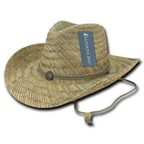 1 Dozen Decky Straw Cowboy Hats Caps One Size Unisex Beach Natural Wholesale Lots