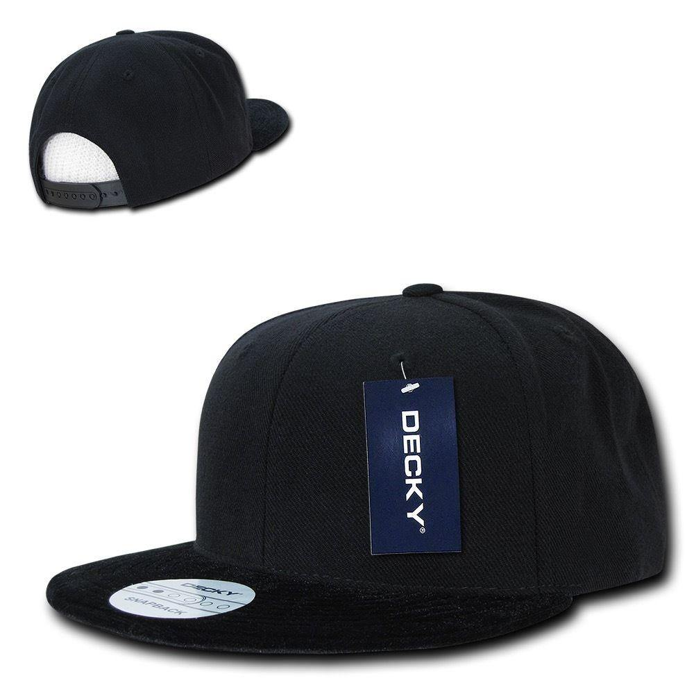 1 Dozen Decky Velvet Black Visor Snapback 6 Panel Flat Bill Caps Cap Wholesale
