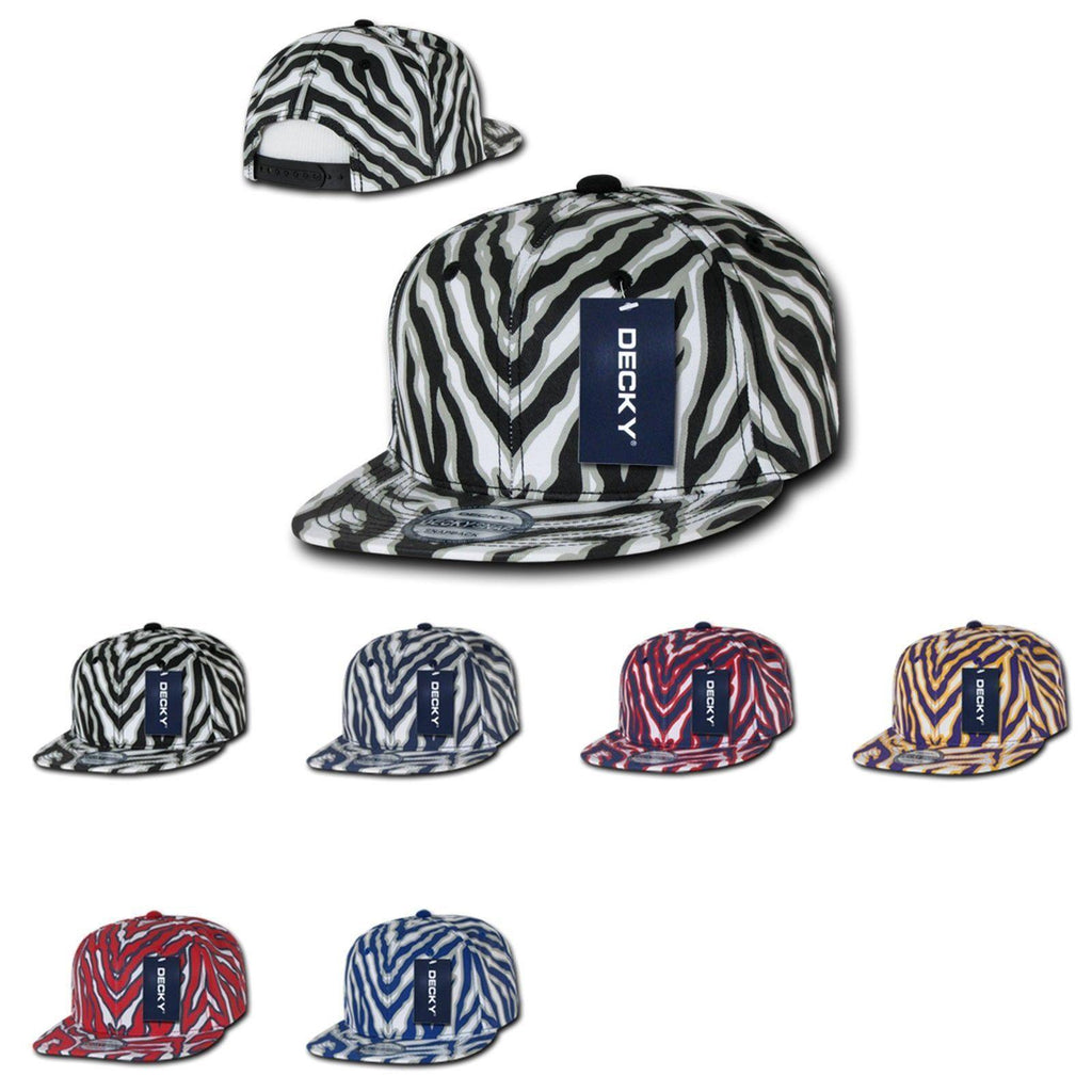 1 Dozen Decky Ziger Animal Print Flat Bill Hats Caps Baseball Zebra Wholesale Lots