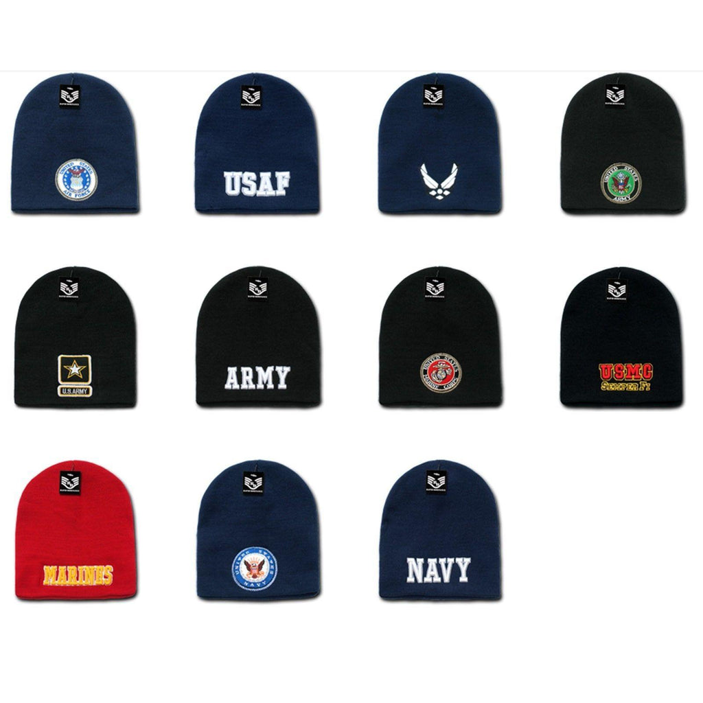 1 Dozen Embroidered Military Short Beanies Knit Caps Hats Wholesale Lots