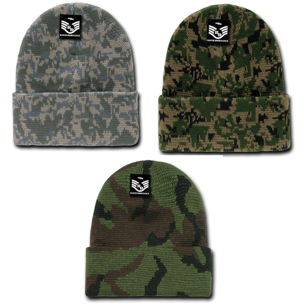 Rapid Dominance 1 Dozen Military Camouflage Cuffed Beanies Knit Watch Caps Wholesale
