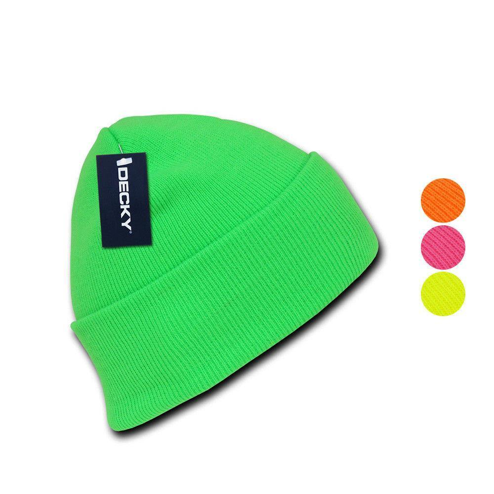 1 Dozen Neon Long Cuffed Beanies Knit Caps Hats Ski Skull Wholesale Lot