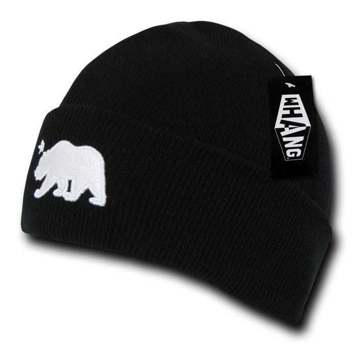 1 Dozen Whang Cali California Republic Bear Cuffed Beanie Cap Black Wholesale Lots