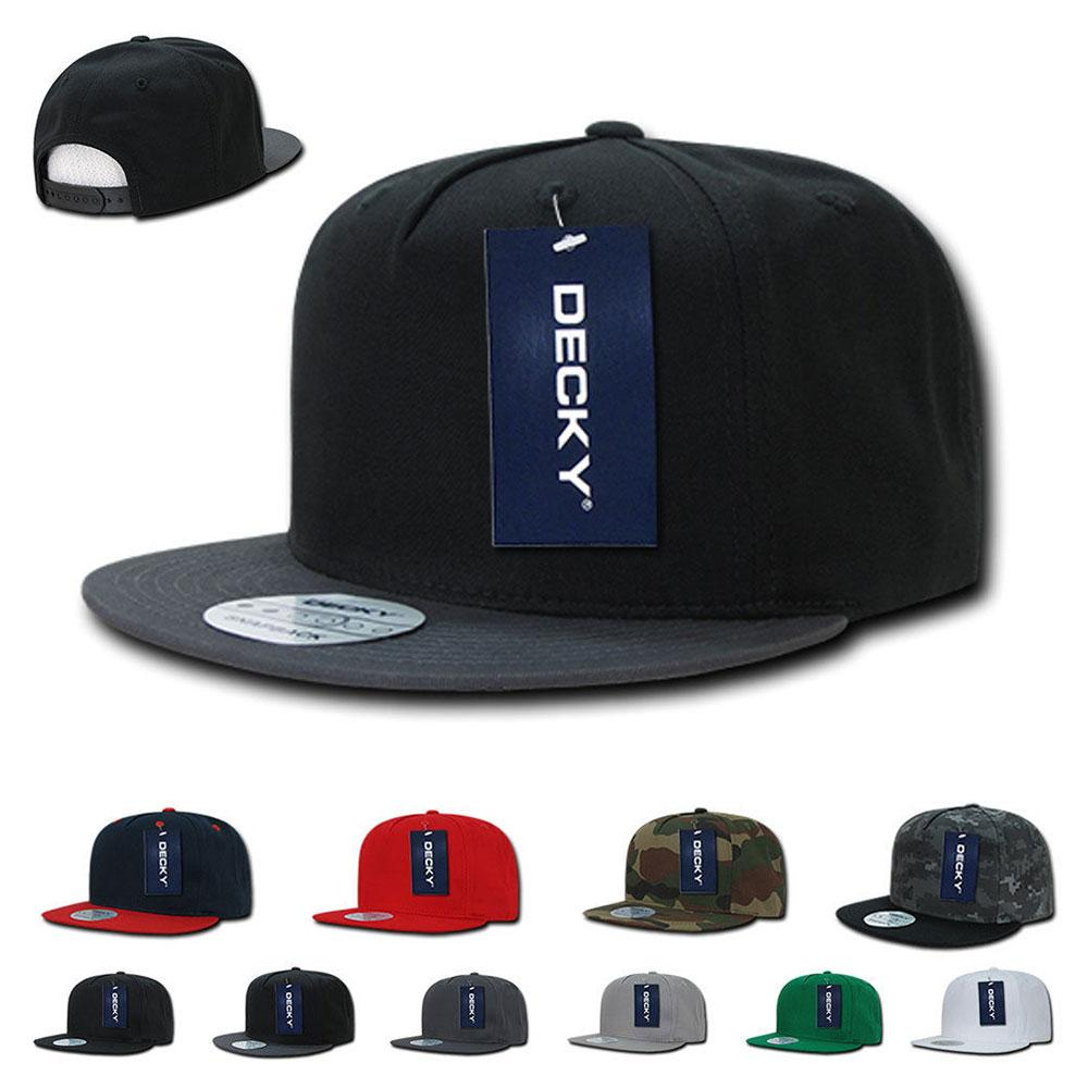 1 Dozen Decky Flat Bill Baseball Hats Caps Cotton 5 Panel Snapback Wholesale  Lot Bulk ae6ec2febef