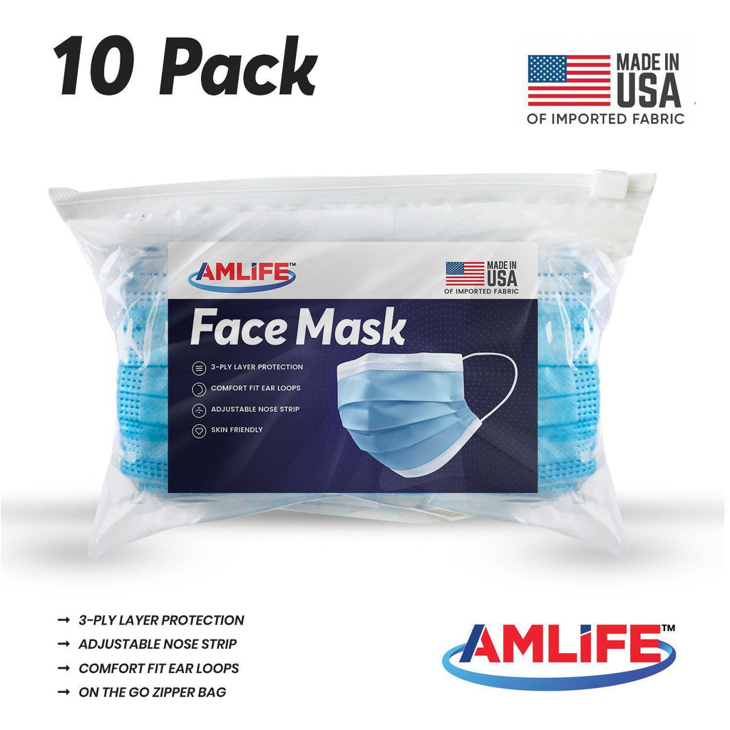 Amlife 10 Pack Face Mask Blue 3-Ply Made in USA Imported Fabric