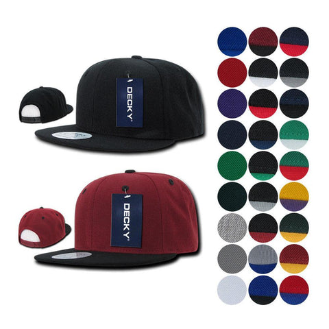 638ae080165 15 Lot Decky Flat Bill Snapback Caps Hats Solid Two Tone Wholesale Lots!