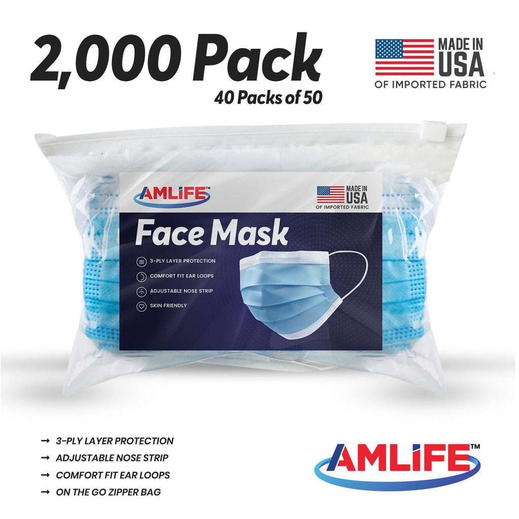Amlife 2000 Pack Face Mask Blue 3-Ply Made in USA Imported Fabric