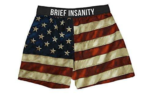 8427b51d17c4 Brief Insanity American USA Flag Silky Patriotic Mens Unisex Boxer Shorts  Gifts