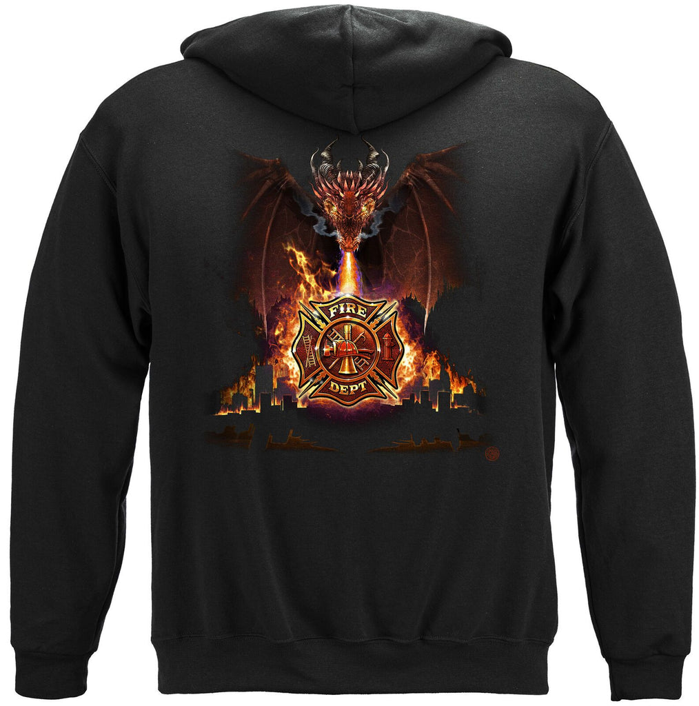 Firefighter Fire Dept City Dragon Hoodie Sweatshirt Black