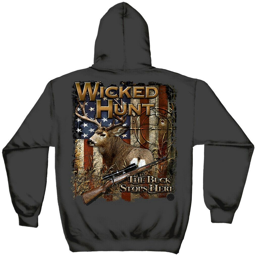 Wicked Hunt Deer Buck Stop Here Hoodie Sweatshirt Charcoal Grey