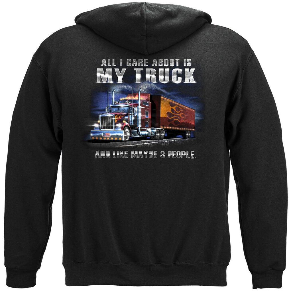Trucker All I Care About Is My Truck Hoodie Sweatshirt Black