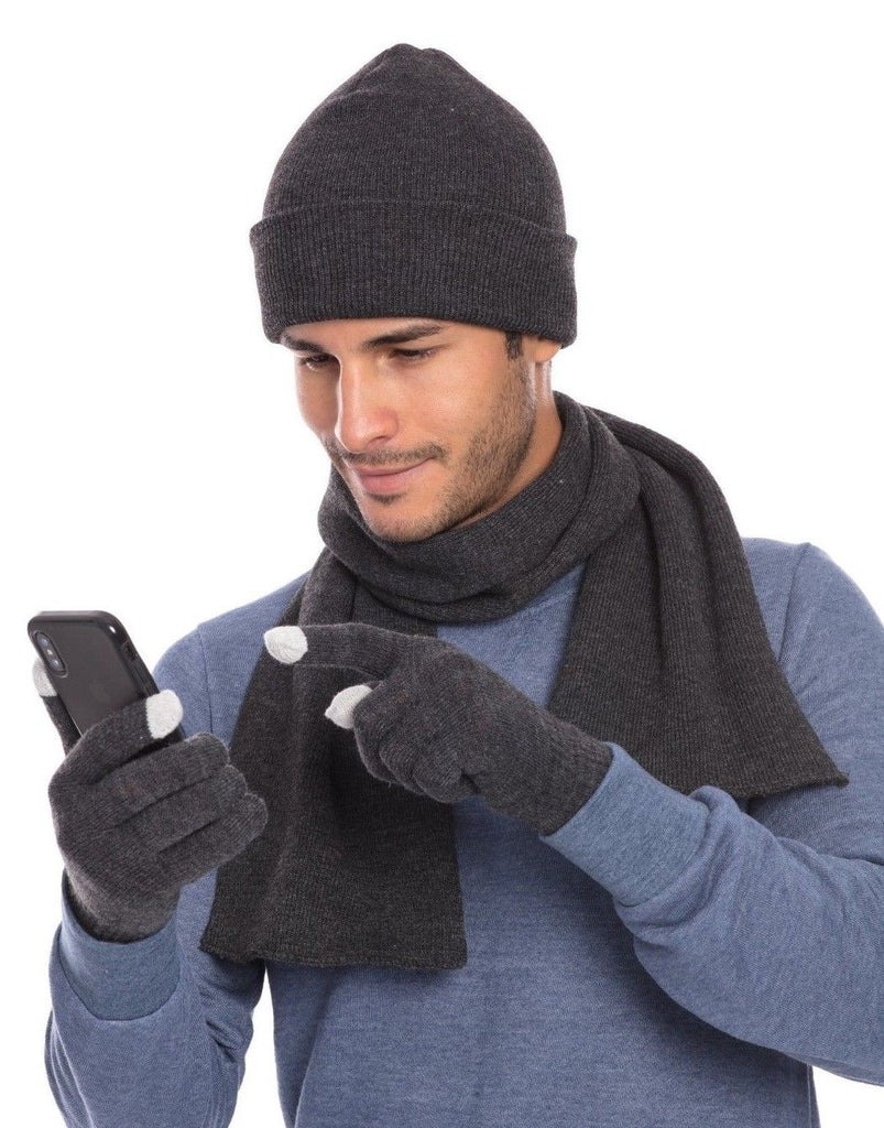 Casaba Winter 3 Piece Gift Set Beanie Hat Scarf Touchscreen Gloves Flat Knit for Men Women